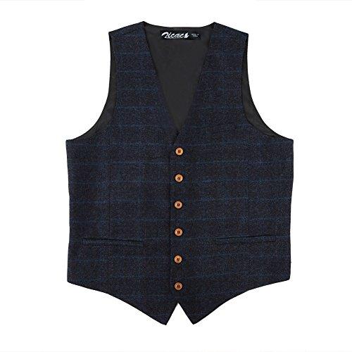 Zicac Men's Unique Advanced Custom Vest Skinny Wedding Dress Waistcoat (M,Blue)