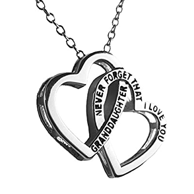 'Granddaughter, Never Forget That I Love You' Double Heart Pendant Necklace
