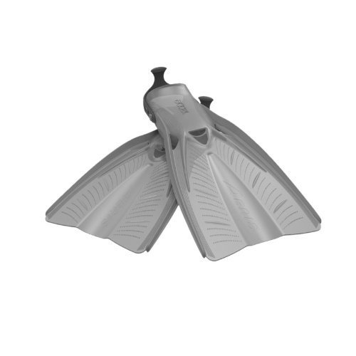 New AERIS Accel Open Heel Scuba Diving & Snorkeling Travel Fins - Grey with Black Straps (Size X-Small-5/7)