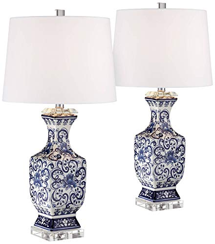 Iris Asian Table Lamps Set of 2 Porcelain Blue Floral Jar Geneva White Drum Shade for Living Room Family Bedroom Bedside - Barnes and ()