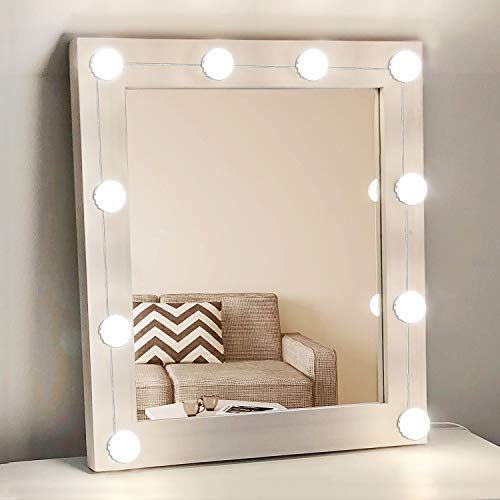 Hollywood Style Vanity Mirror Lights with 10 Dimmable LED Light Bulbs, USB Powered Lighting Fixture Strip for Makeup Vanity Table Set in Dressing Room(Mirror Not Included) (10 Bulbs) by XBUTY