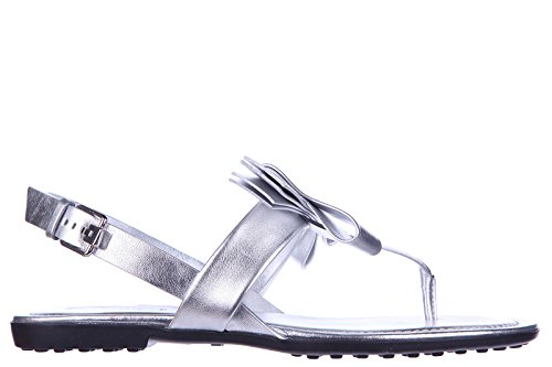 Tod's infradito donna in pelle fiocco argento