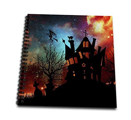 3dRose Sandy Mertens Halloween Designs - Witch House, Black Cat, Weird Starry Sky, Graveyard, 3drsmm - Drawing Book 8 x 8 inch (db_290237_1)