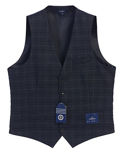 ton Formal Tweed Suit Vest, Navy Graph, Medium (Five Button Suit Vest)