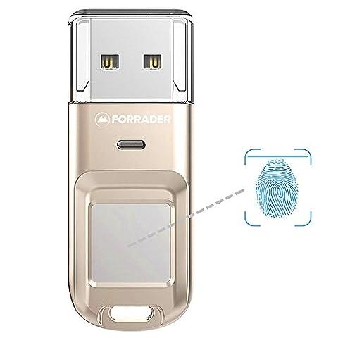 Forrader Fingerprint USB Flash Drive, Metal Design High-speed Recognition Fingerprint Encrypted USB High Tech Pen Drive Security Memory USB Stick (32G - Secure Encrypted Flash Drive