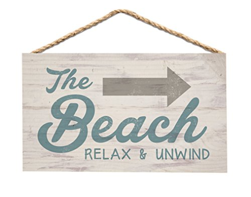 The Beach Relax & Unwind Arrow Whitewash 6 x 3.5 Wood Mini Wall Hanging Plaque Sign