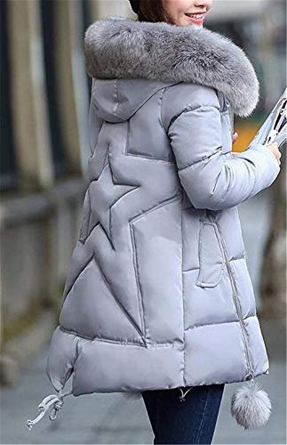Retro Termica Abrigo Acolchado Capucha Pluma Grande Moda Invierno Espesar Talla Manga Unicolor Con Parkas Piel Casuales Grau Mujer Chaqueta De Larga Elegantes wYzZpXIYq