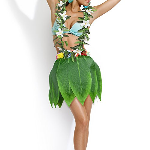 - KEFAN Leaf Hula Skirt and Hawaiian Leis Set Grass Skirt with Artificial Hibiscus Flowers for Hula Costume and Beach Party (D)