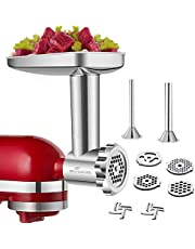GVODE Stainless Steel Food Grinder Accessories For KitchenAid Stand Mixers Including Sausage Stuffer, Stainless Steel,Dishwasher Safe
