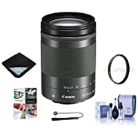 Canon EF-M 18-150mm f/3.5-6.3 IS STM Lens, Graphite - Bundle With 55mm Uv Filter, Lens Wrap (15x15), Cleaning Kit, Capleash II, Software Package