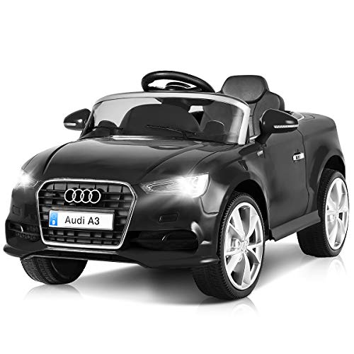 Costzon Ride On Car, Licensed Audi A3 12V Battery Powered Ride-On Vehicle, Manual/Parental Remote Control Modes with Headlights, MP3, Music, High/Low Speeds, 2WD (Black)]()
