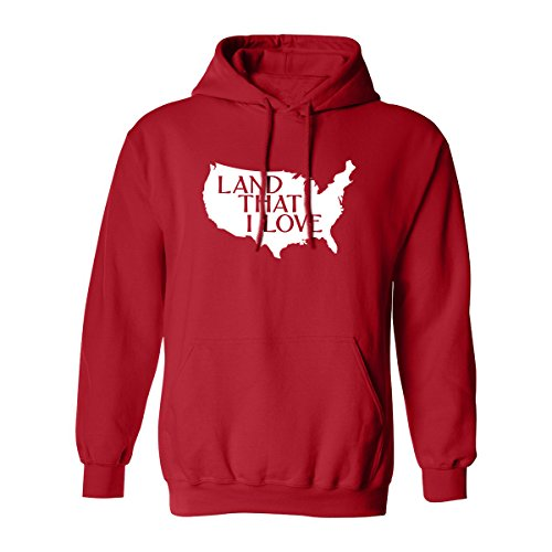 Land That I Love Adult Hooded Sweatshirt in Red - XXXX-Large by ZeroGravitee