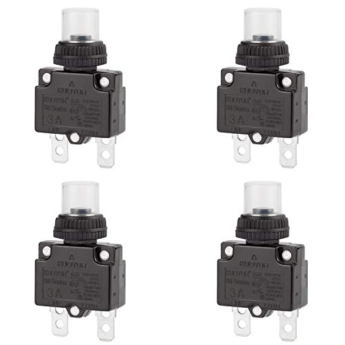 (DIYhz 3Amp Circuit Breakers Thermal Overload Switch Protector 88 Series Manual Push Button Reset with Quick Connect Terminals and Waterproof Button Cap 32VDC or 125/250VAC 4PCS)