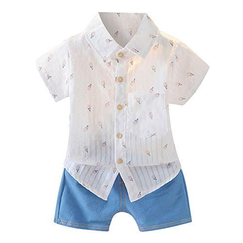 Big Promotion! Daoroka Toddler Baby Kids Boys Short Sleeve Geometry Cartoon Ice-Cream Print T Shirts+Denim Shorts Outfits Summer Sets for 0-3 Years