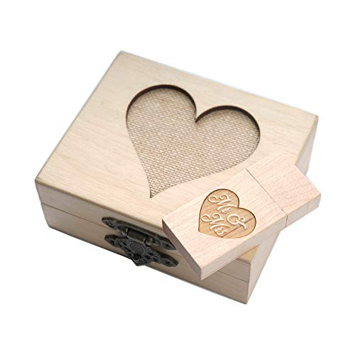 1-32GB USB 3.0 Wooden Birch Drive - Mr Mrs Engraved Drive - Packaged in Hand Made Birch Wedding Box with Mesh Heart