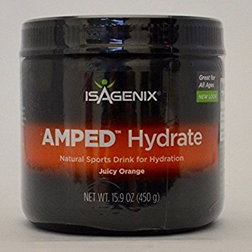 Isagenix AMPED Hydrate Natural Sports Drink Mix Juicy Orange 15.9 oz Canister