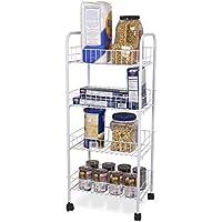 Home Basics FB41258 4 Tier Kitchen Trolley, White