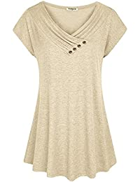 Womens Cap Sleeve Cowl V Neck Loose Flare Tunic Top Blouse with Button Trim