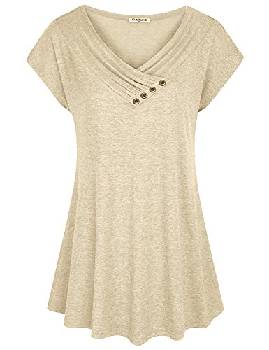 Cowl Neck Jeans - Baikea Beige Tunic Tops  Ladies Cowl V Neck Dressy Tunic A Line Trendy Tops Blouses Zulily Chic Loose Flare Simple Boutique Clothing Fashion 2018 Beige X-Large (US 18)