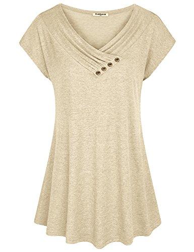 Baikea Summer Tunics for Women, Juniors Loose Casual Tops Pleated Plain Cap Sleeve V Neck Tunic Shirt for Leggings Beige XXL