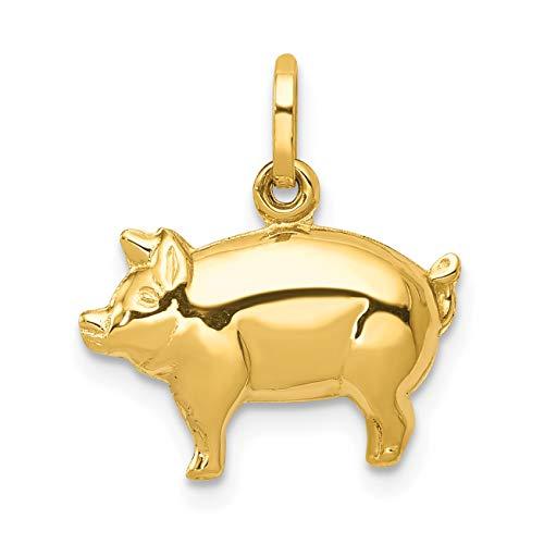 Mireval 14k Yellow Gold Pig Charm (16 x 16.5 mm) ()