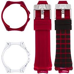 TechnoMarine Men's TechnoMarine Red Silicone Band Steel Case Quartz Black Dial Analog Watch 115179
