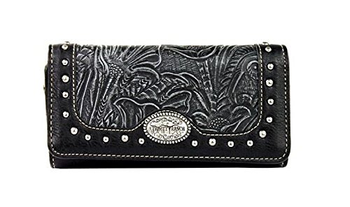 trinity-ranch-concho-floral-tooled-western-womens-trifold-wristlet-wallet-jp-black