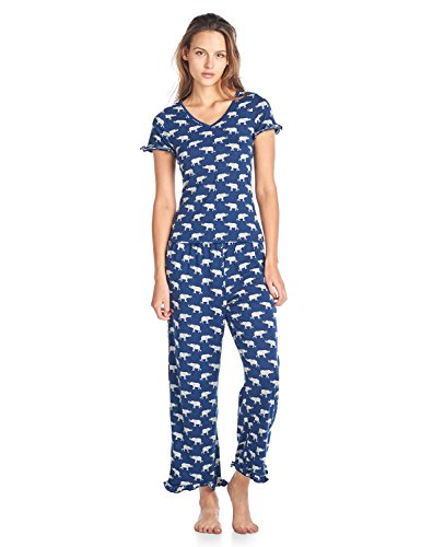 BHPJ By Bedhead Pajamas Women's Fitted Soft Knit Ruffle Short Sleeve Capri Pajama Set - Navy Grey Elephant - Medium