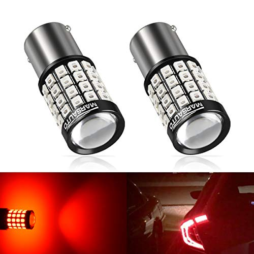 (Marsauto 1157 LED Bulb Red 1157 2057 2357 7528 BAY15D Super Bright with Projector Lens 2500LM for Brake Lights Tail Lights Turn Signal 2Pack )