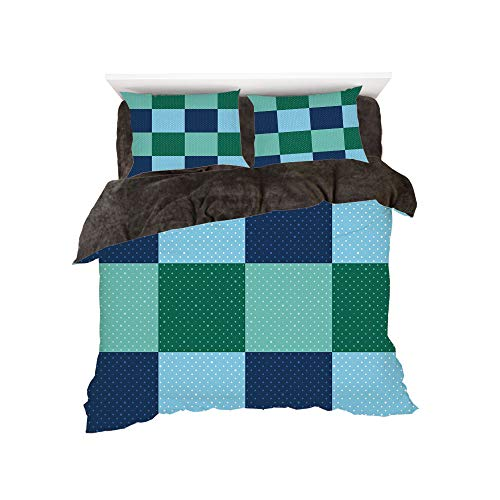 Comforter Union Square (Flannel 4 Piece Cotton Queen Size Bed Sheet Set for bed width 5ft Winter Holiday Pattern by,Navy and Teal,Aquatic Colored Squares with Old Fashioned Polka Dots Retro Style Maritime Decorative,Multicol)