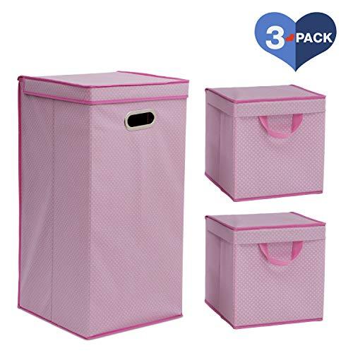 Delta Children 3-Piece Nursery Organization Set for Babies and Kids, Barely Pink