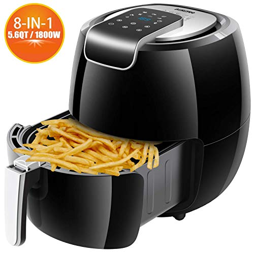 AUKUYEE Air Fryer Oil Less Cooker with Touch Screen Control, Dishwasher Safe, Recipes, 5.6QT/1800W for Fast, Healthy Cooking(Black), XL, 2