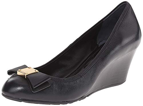 Cole Haan Womens Tali Leather Round Toe Wedge Pumps, Black, Size 7.0