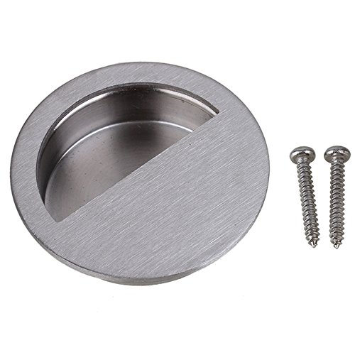 Silver Stainless Steel Cabinet Drawer Closet Flush Recessed Knob Pull Handle