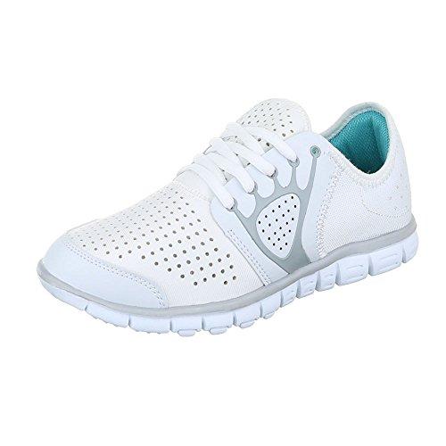 Ital-Design Sportschuhe Damenschuhe Geschlossen Schnürer Schnürsenkel Freizeitschuhe Weiß