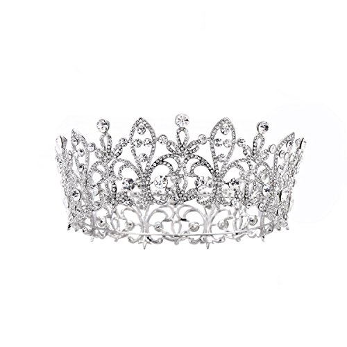 Full Crown (FF Silver Full Round Wedding Crown for Brides Women Birthday Crown)