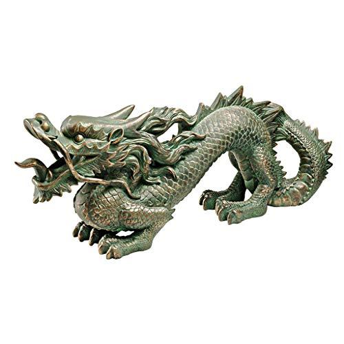 Design Toscano Asian Dragon of the Great Wall Garden Statue, Medium, 21 Inch, Polyresin, Bronze Verdigris Finish ()