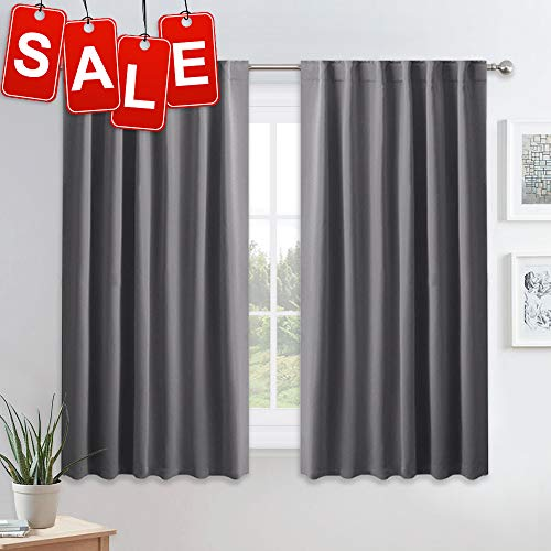PONY DANCE Blackout Curtains for Bedroom - 54 Inches Long Curtain Drapes with Back Loops Plus Rod Pocket Design Privacy Protect Energy Saving, 52