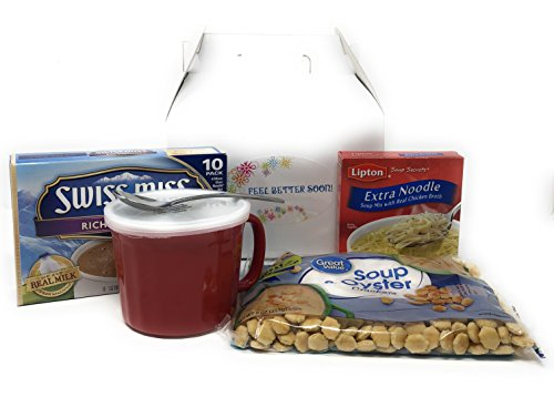 Feel Good Care package-Mug with handle, spoon, chicken noodle soup, oyster crackers and hot chocolate bundle-packaged in a