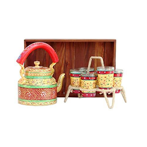 Beautiful Hand-Painted Multicolor Tea Kettle Pot (Set of Seven-Multicolor)