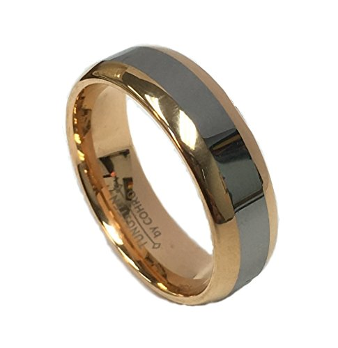 8Mm Two Tone Rose Gold & Tungsten Carbide Ring Men's Wedding Band by Cohro CJTU179TT-7