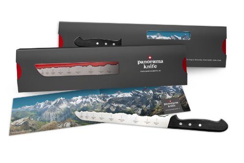 PanoramaKnife bread knife with the Swiss Alps - Eiger, Mönch, Jungfrau with Plastic Handle by PanoramaKnife