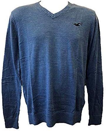 Hollister New Abercrombie Heather Blue - Jersey para hombre, cuello en V, talla XS/S