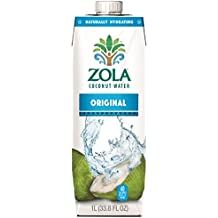 Zola 100% Natural Coconut Water, 12-Count (Pack of 12)