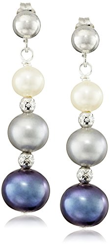 [Sterling Silver Graduated 5-8.5mm Dyed Multi-Color Freshwater Cultured Pearl Dangle Earrings] (Twist Multi Color Freshwater Pearl)