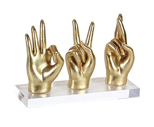 Table Decor Sculpture Accent - Deco 79 Contemporary Fingers Crossed, Peace and Okay Hand Signs Table Decor, 8