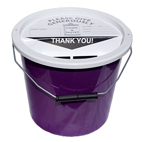 Collection Bucket - 4 Charity Money Collection Buckets 5.7 Litres - Purple