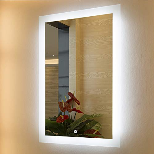 "Mirrors and More LED Backlit Wall Mirror | Frameless Polished Edge Silver Backing with Rectangle Illuminated Frosted Strip | Vanity | Bathroom | Makeup | 24"" X 32"""