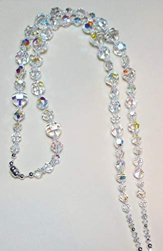 (BOLD Elegant All Crystal AB Swarovski Beaded ID Badge Lanyard or Eyeglass Chain)