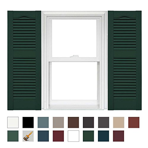 Mid America Cathedral Open Louver Vinyl Standard Shutter - 1 Pair 14.5 x 67 122 Midnight Green